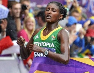 Tiki Gelana win gold in the women's Olympic marathon