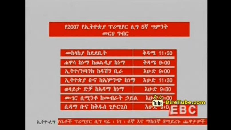 Ethiopian Premier League 2007 -  5th week Fixtures