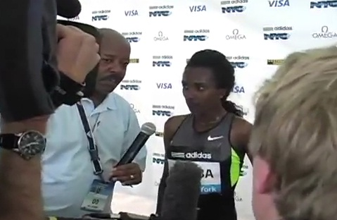 Ethiopian Sport - Post Race Interview with Ethiopian Athlete Tirunesh Diaba at NY
