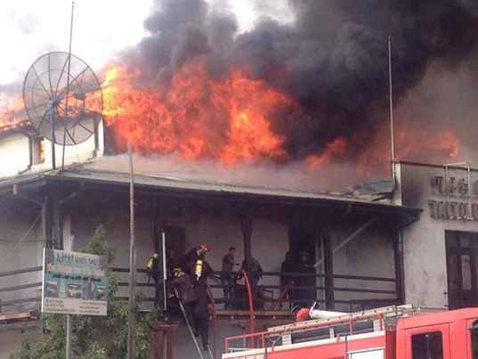 Fire broke out at Taitu Hotel in Addis Abeba Piassa Area