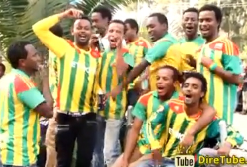 Ethiopian Football fans are Celebrating Team's victory over CAR in Addis