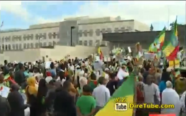 Protest in front of the US Embassy in Addis over the incident in DC