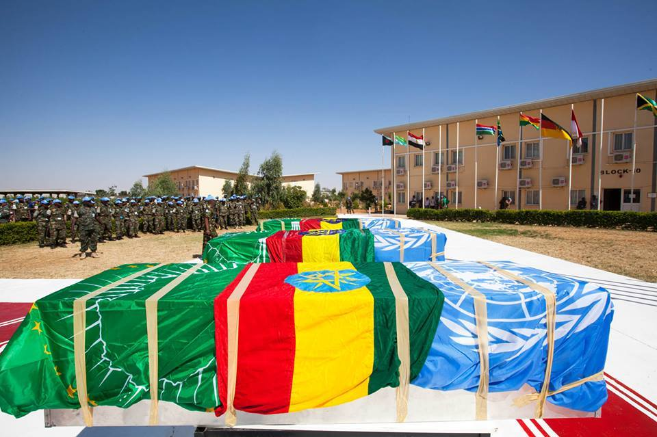 UNAMID staff paid their last respects to three Ethiopian peacekeepers