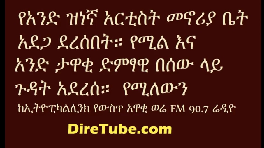 Ethiopicalink - Fire caused minor damage on Artist Wubshet Workalemaw's home