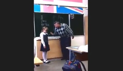 Aggressive Teacher kicked in the ball by little girl