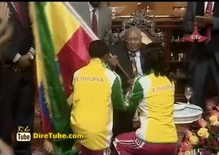 Ethiopian Olympic Team receive a flag from President Girma W/Giorgis