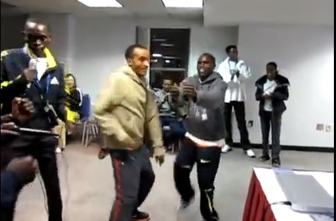 Ethiopian Marathon Runner Deriba Partying with Kenyan Athletes