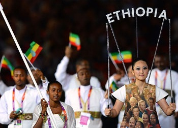 The Ethiopian Olympic Team at the Opening Ceremony