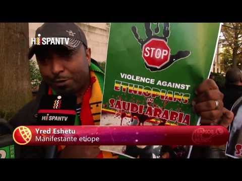 Ethiopians in Washington Protest infront of Saudi Embassy