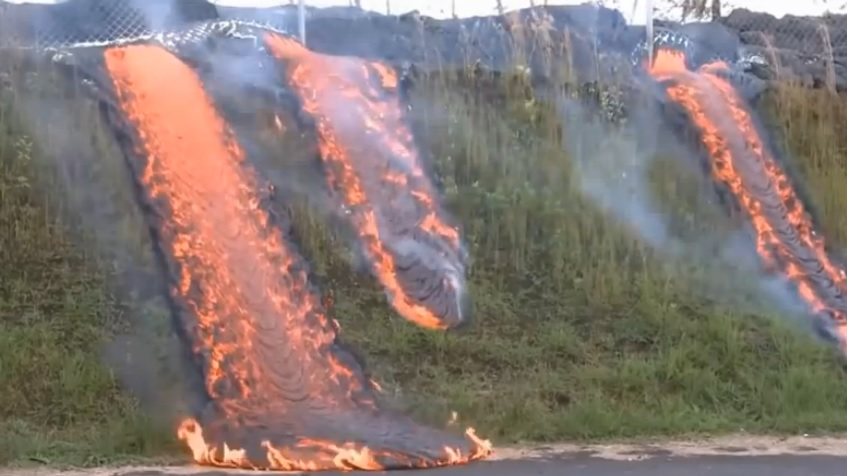 Hawaii Lava Flow Reaches Transfer Station - Flowing Downhill to Road