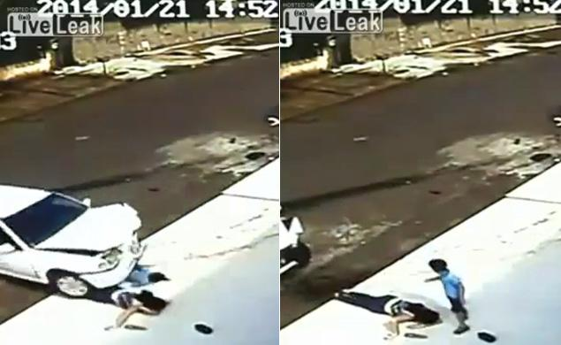 Boy and Grandmother Who Survive Horrific Accident Caught on Tape