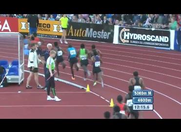 Dejene Gebremeskel leads an Ethiopian 1-2-3-4-5 win in 5000M