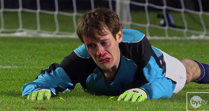 Goalkeeper saving five penalties in a row with his face
