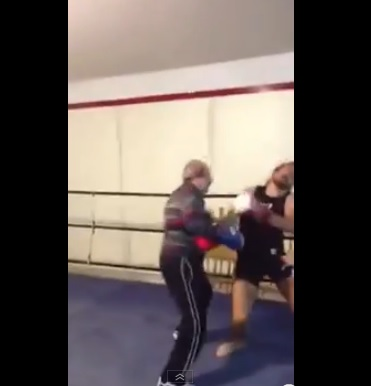 Old Man Knocks Down Boxer