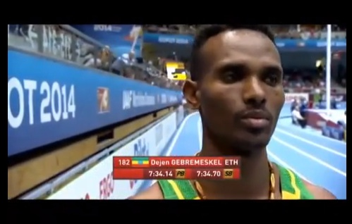 Dejen Gebremeskel won Bronze for Ethiopia in 3000M Men