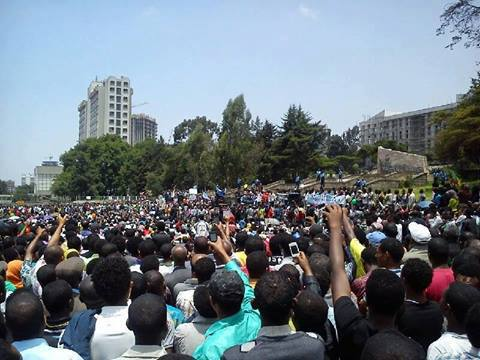 Blue Party Holds Demonstration in Addis Ababa