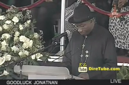 Nigerian Goodluck Jonathan Speaks at Meles Zenawi's Funeral