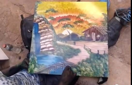 Amazing Painting Using Only His Fingers with in a few Minutes