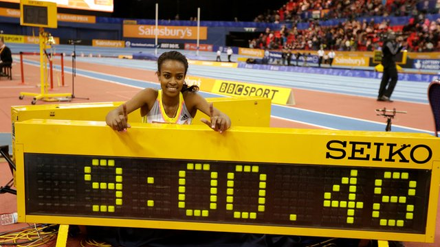 Genzebe Dibaba sets world record in Birmingham, her third in 15 days