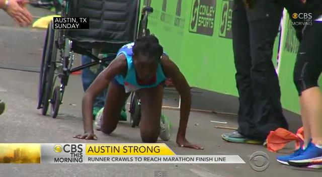 Determined marathoner Hyvon Ngetich crawls to finish line