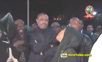 The body of PM Meles Zenawi arrived at his Office