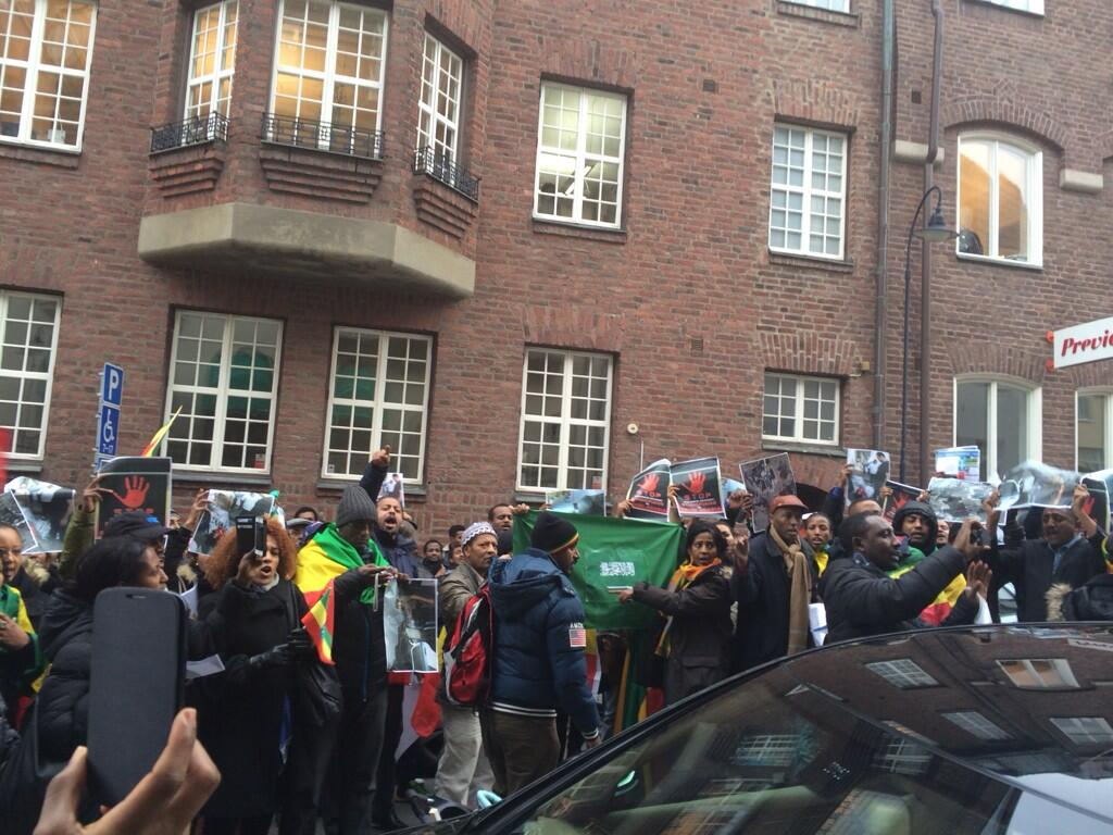 Ethiopians in Sweden protest against the violence in Saudi