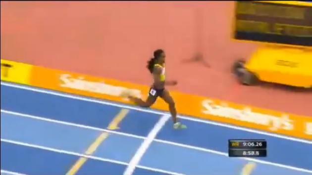 Genzebe Dibaba's of Ethiopia third world record at Birmingham Grand Prix 2014