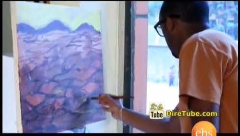 Ethiopian Art - Alemayehu Biratu's Painting of the Poem From EBS TV