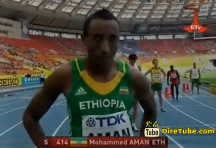 Moscow 2013 - Day 1 Mohammed Aman wins the men's 800m qualifier